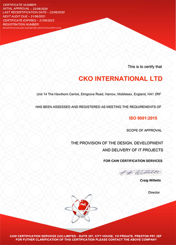 ISO 9001 : 2015 certificate